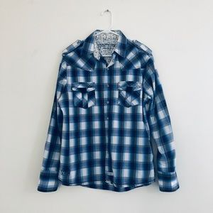 English Laundry John Lennon Blue Plaid Shirt Large
